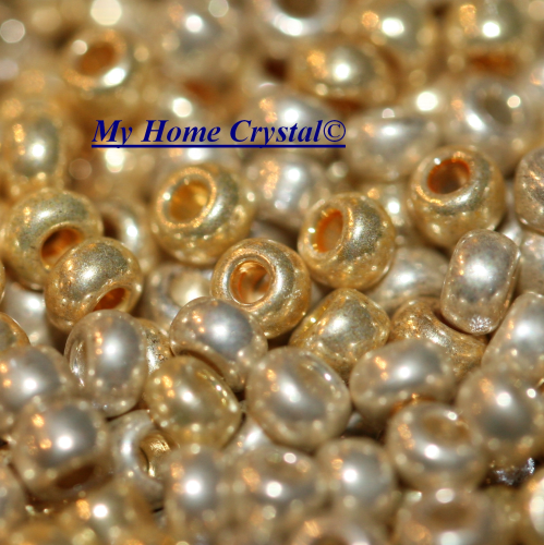 "Rocailles 2,6mm ""metallfarben mix hell- gold"""