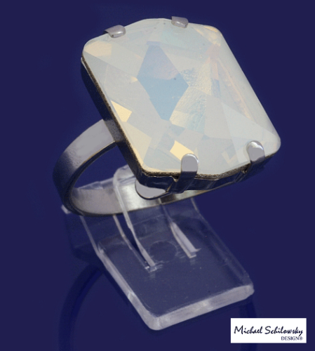 1-Stein Glamour Ring, Opal weiss