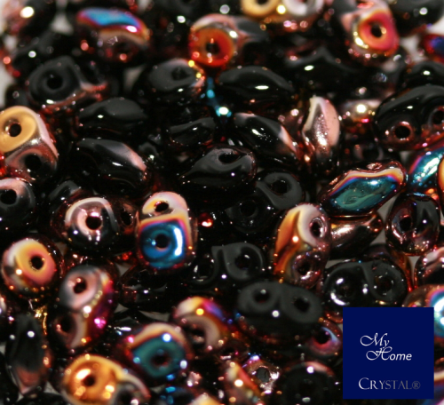 Twin™ seed bead schwarz multi