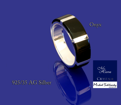 925AG Silber - Bandring mit Onyx -  #60 (20 France)