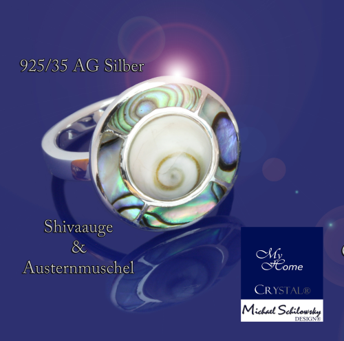 "925AG Silber - Ring Shivaauge mit Abalone muschel- ""Größe #60 (20 France)"""